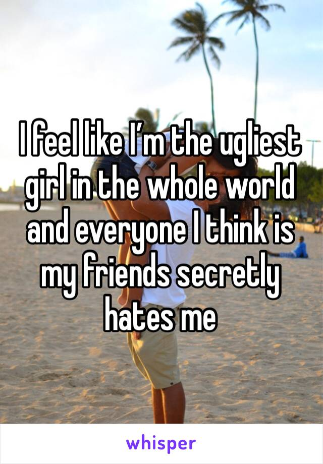 I feel like I'm the ugliest girl in the whole world and everyone I think is my friends secretly hates me