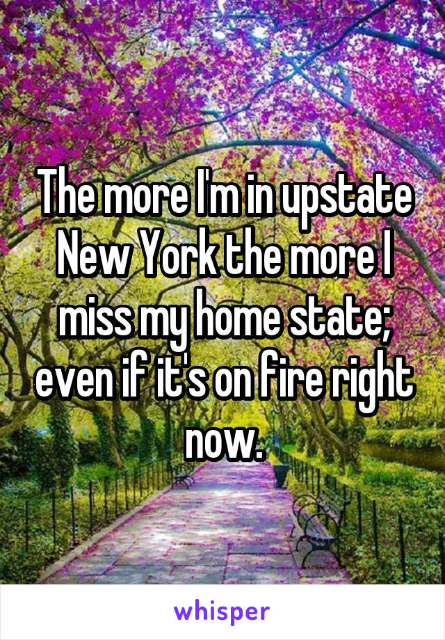 The more I'm in upstate New York the more I miss my home state; even if it's on fire right now.