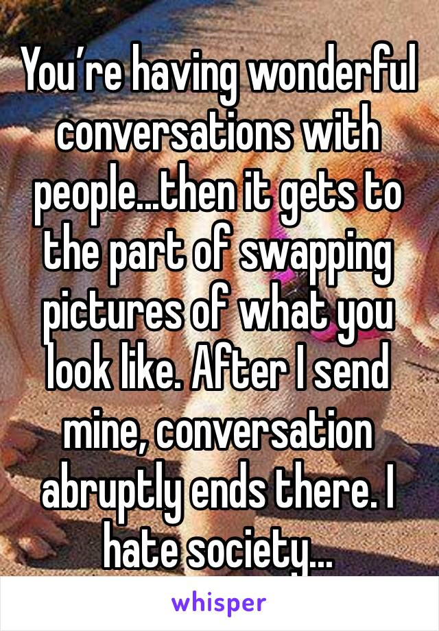 You're having wonderful conversations with people...then it gets to the part of swapping pictures of what you look like. After I send mine, conversation abruptly ends there. I hate society...