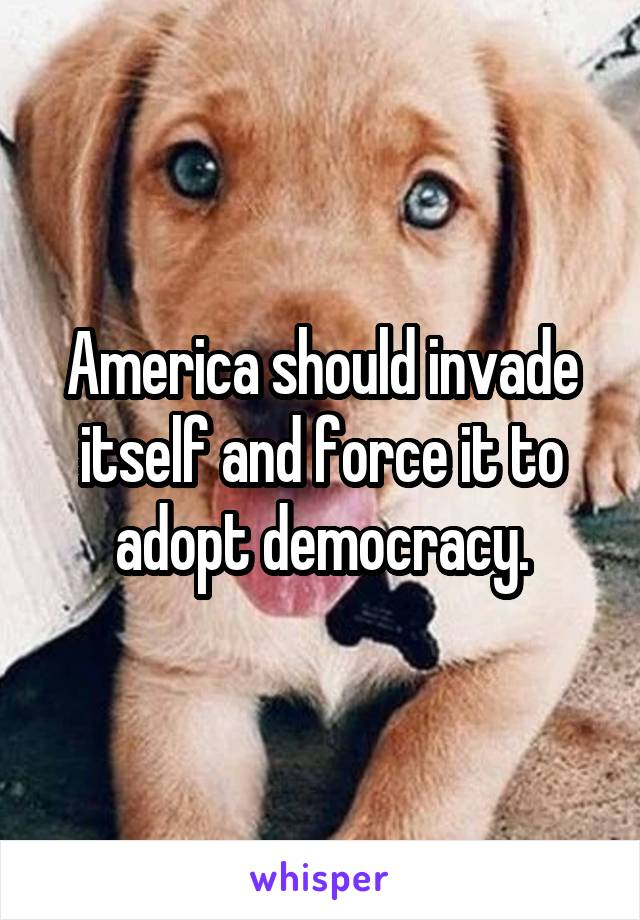 America should invade itself and force it to adopt democracy.