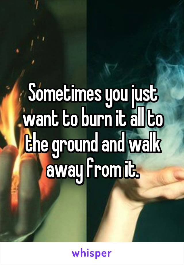 Sometimes you just want to burn it all to the ground and walk away from it.