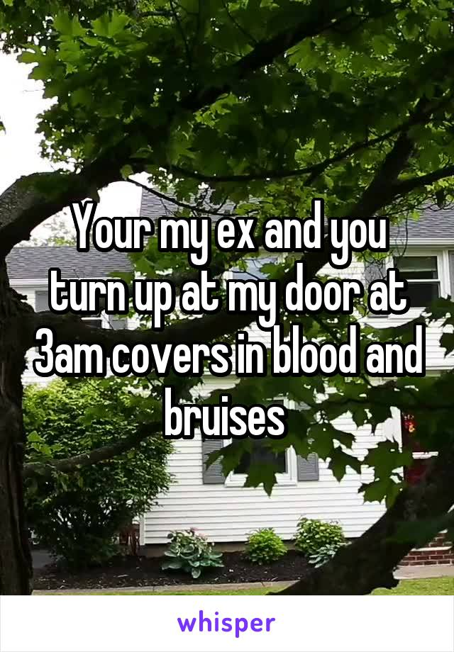 Your my ex and you turn up at my door at 3am covers in blood and bruises