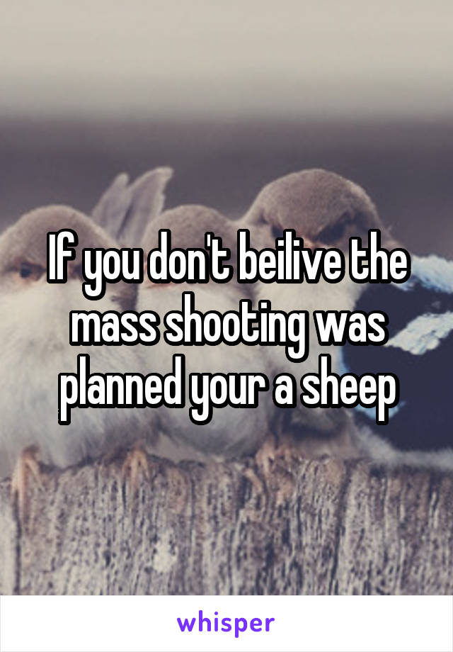 If you don't beilive the mass shooting was planned your a sheep