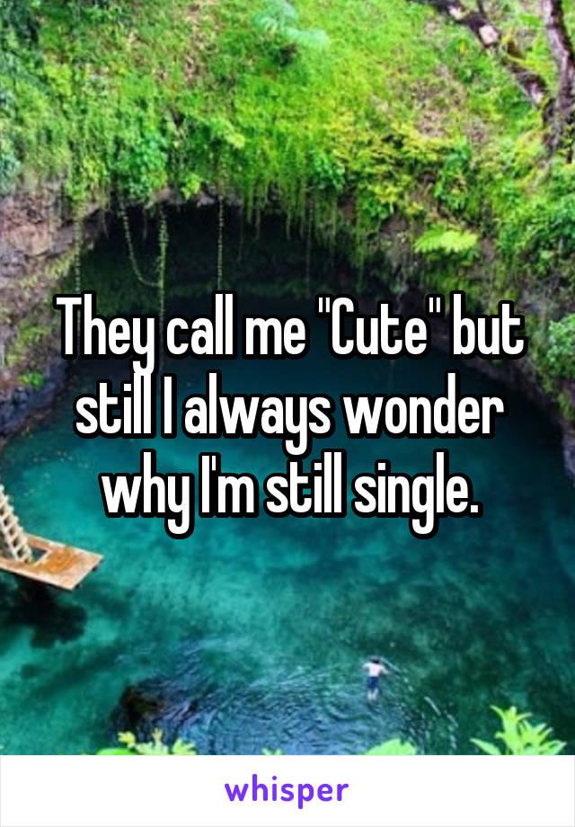 """They call me """"Cute"""" but still I always wonder why I'm still single."""