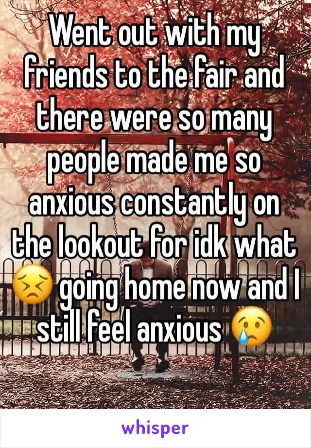 Went out with my friends to the fair and there were so many people made me so anxious constantly on the lookout for idk what 😣 going home now and I still feel anxious 😢