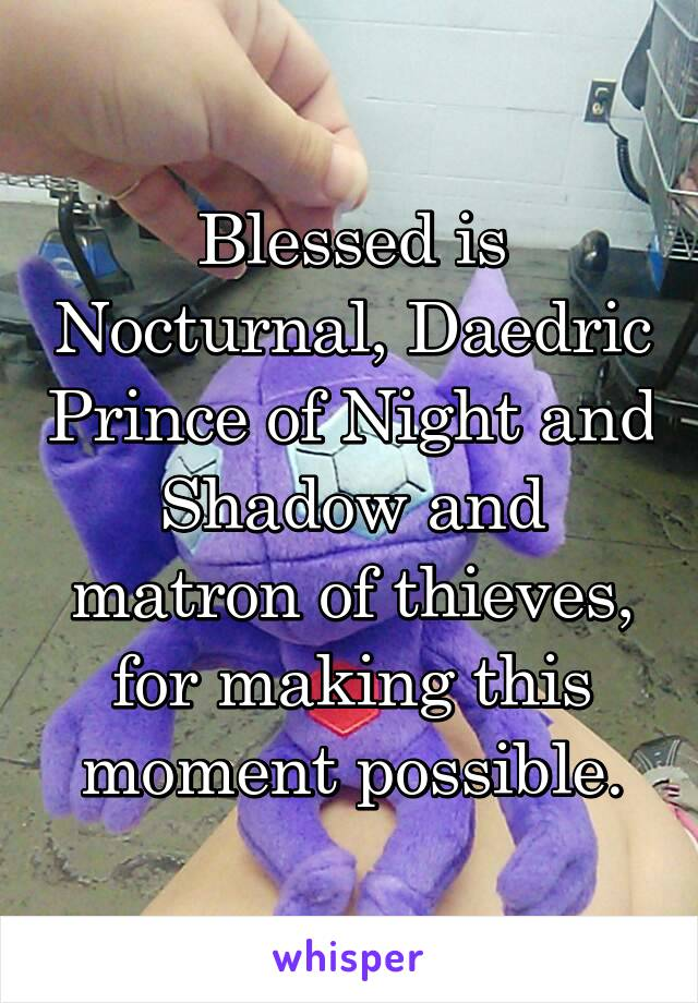 Blessed is Nocturnal, Daedric Prince of Night and Shadow and matron of thieves, for making this moment possible.