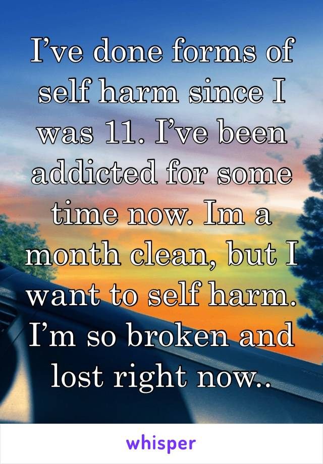 I've done forms of self harm since I was 11. I've been addicted for some time now. Im a month clean, but I want to self harm. I'm so broken and lost right now..