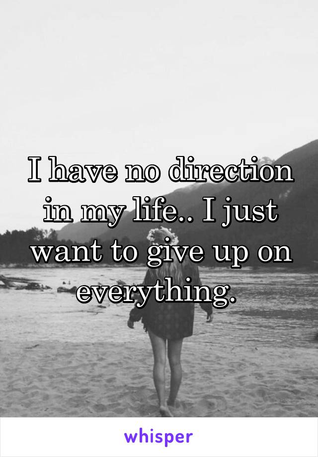 I have no direction in my life.. I just want to give up on everything.
