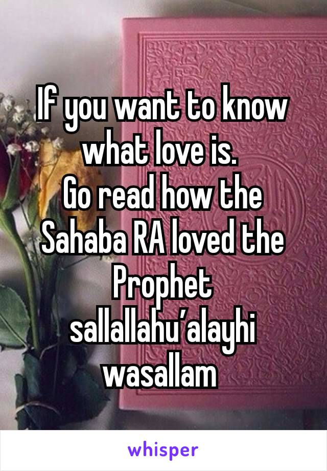 If you want to know what love is.  Go read how the Sahaba RA loved the Prophet sallallahu'alayhi wasallam