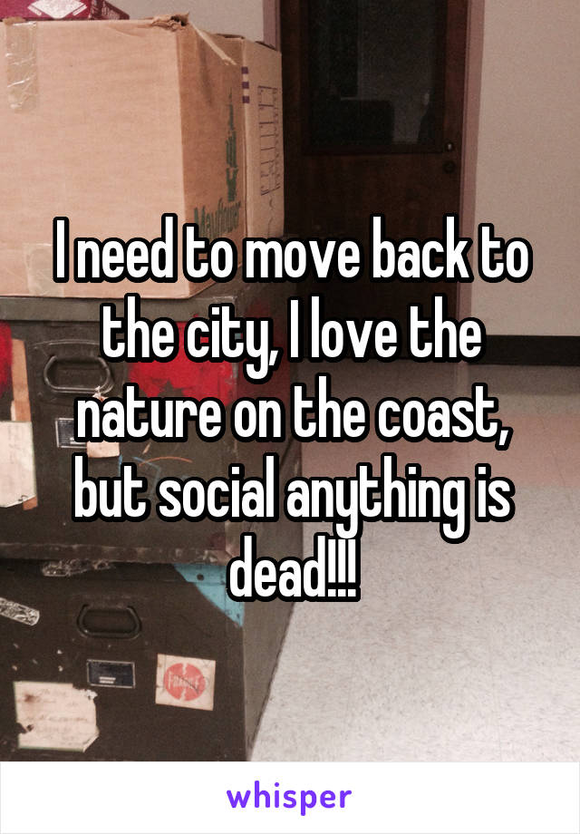 I need to move back to the city, I love the nature on the coast, but social anything is dead!!!
