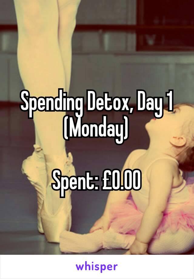 Spending Detox, Day 1 (Monday)  Spent: £0.00