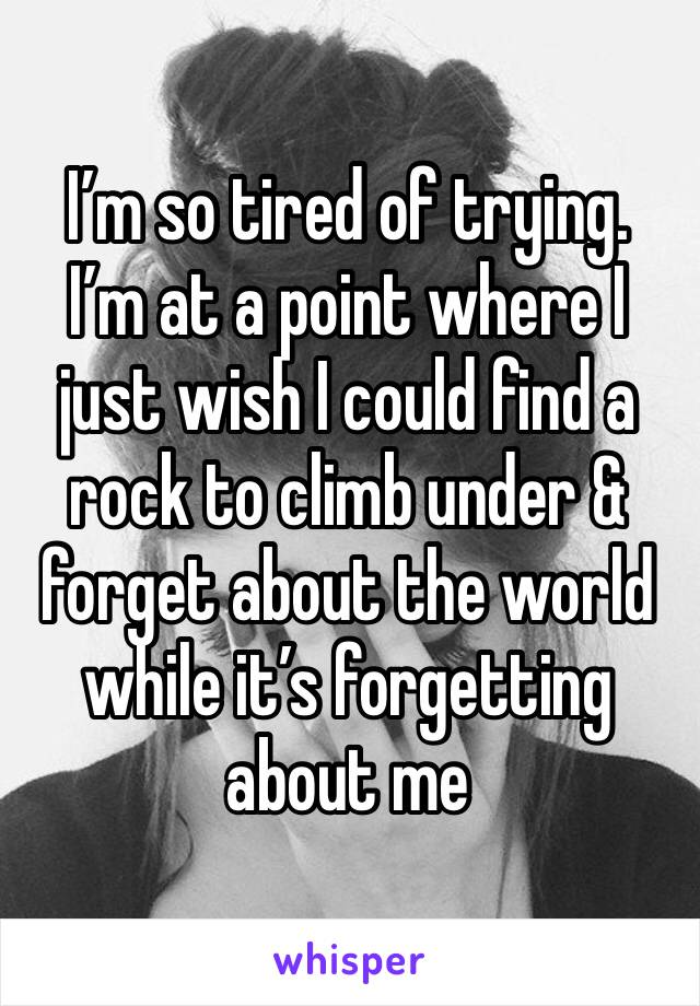 I'm so tired of trying.  I'm at a point where I just wish I could find a rock to climb under & forget about the world while it's forgetting about me