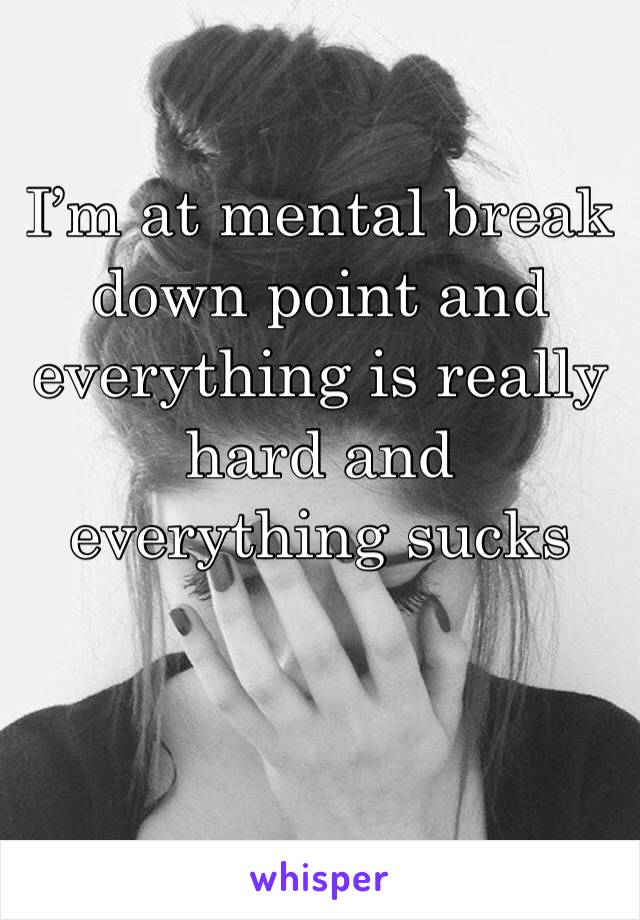 I'm at mental break down point and everything is really hard and everything sucks