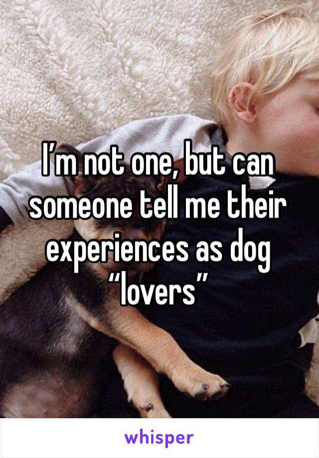 """I'm not one, but can someone tell me their experiences as dog """"lovers"""""""
