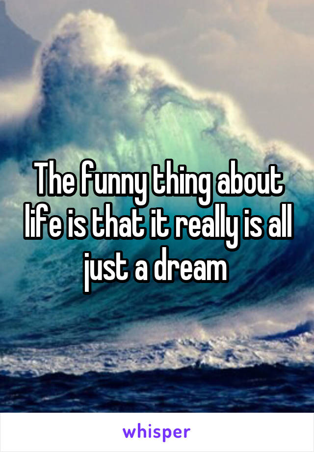 The funny thing about life is that it really is all just a dream