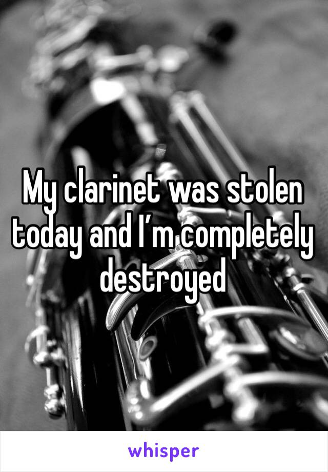 My clarinet was stolen today and I'm completely destroyed