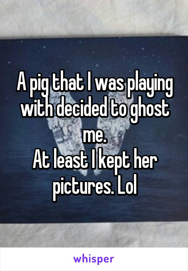 A pig that I was playing with decided to ghost me. At least I kept her pictures. Lol