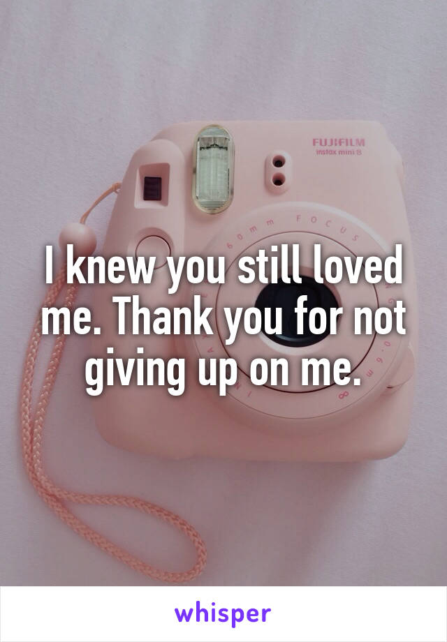 I knew you still loved me. Thank you for not giving up on me.
