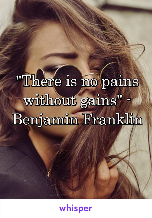 """""""There is no pains without gains"""" - Benjamin Franklin"""