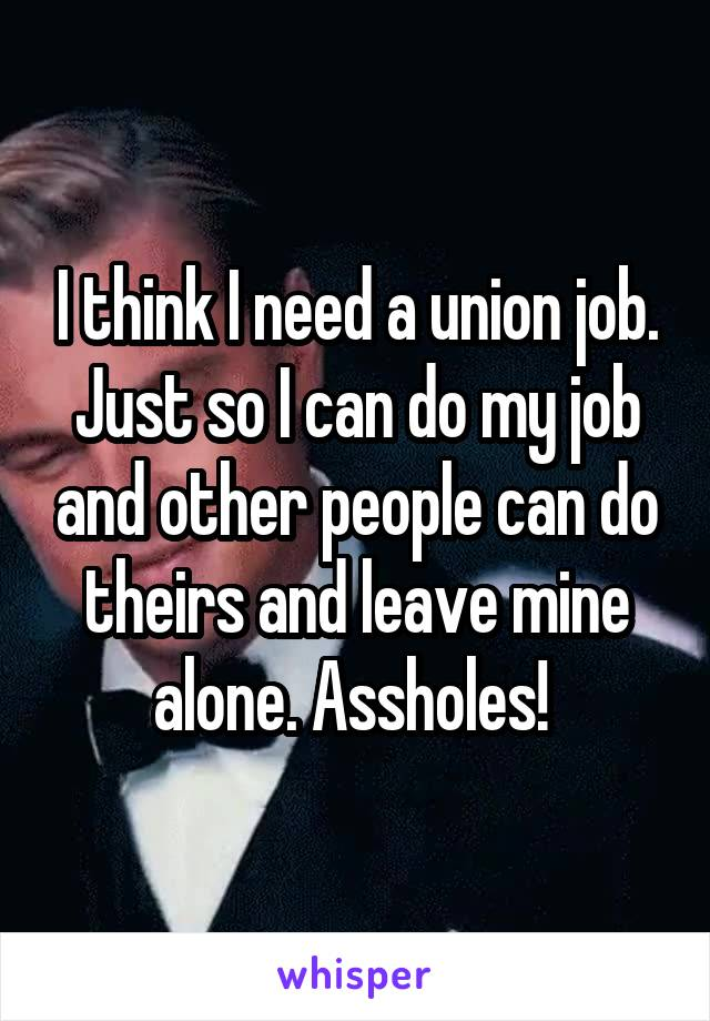 I think I need a union job. Just so I can do my job and other people can do theirs and leave mine alone. Assholes!