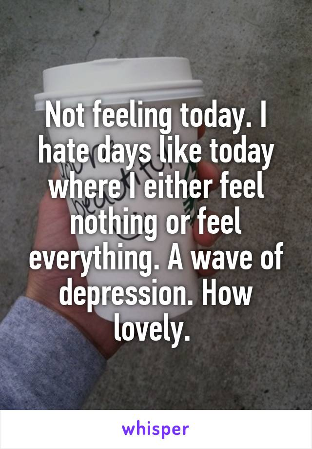 Not feeling today. I hate days like today where I either feel nothing or feel everything. A wave of depression. How lovely.