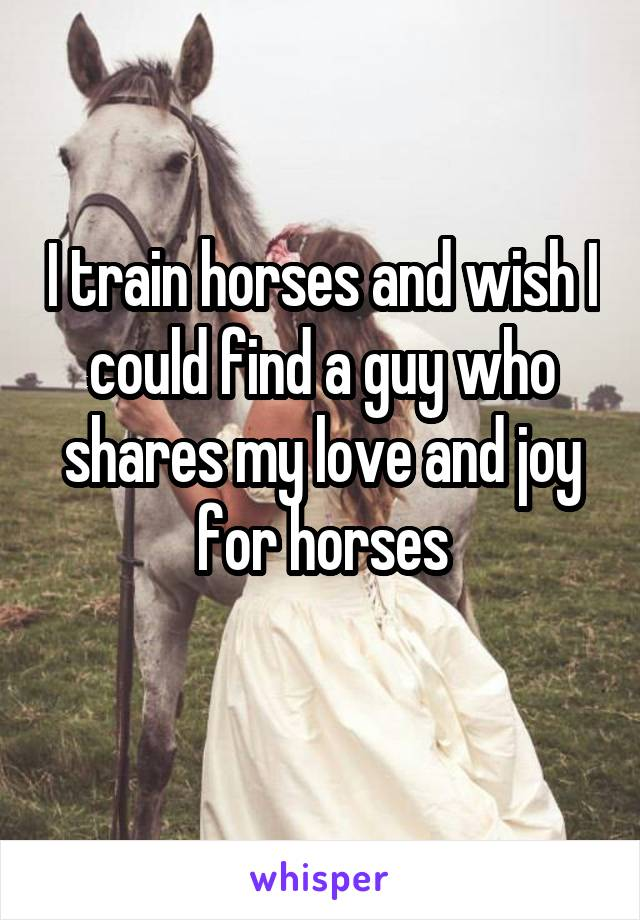 I train horses and wish I could find a guy who shares my love and joy for horses