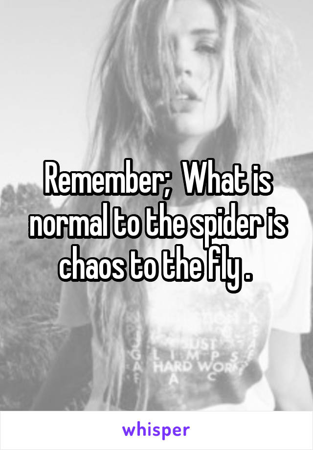 Remember;  What is normal to the spider is chaos to the fly .
