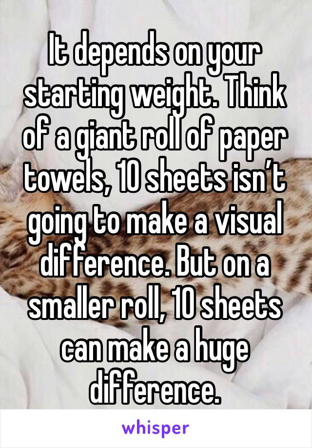 It depends on your starting weight. Think of a giant roll of paper towels, 10 sheets isn't going to make a visual difference. But on a smaller roll, 10 sheets can make a huge difference.