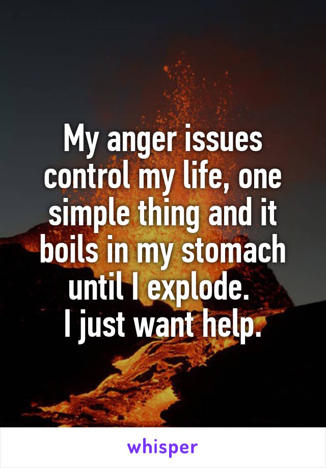 My anger issues control my life, one simple thing and it boils in my stomach until I explode.  I just want help.