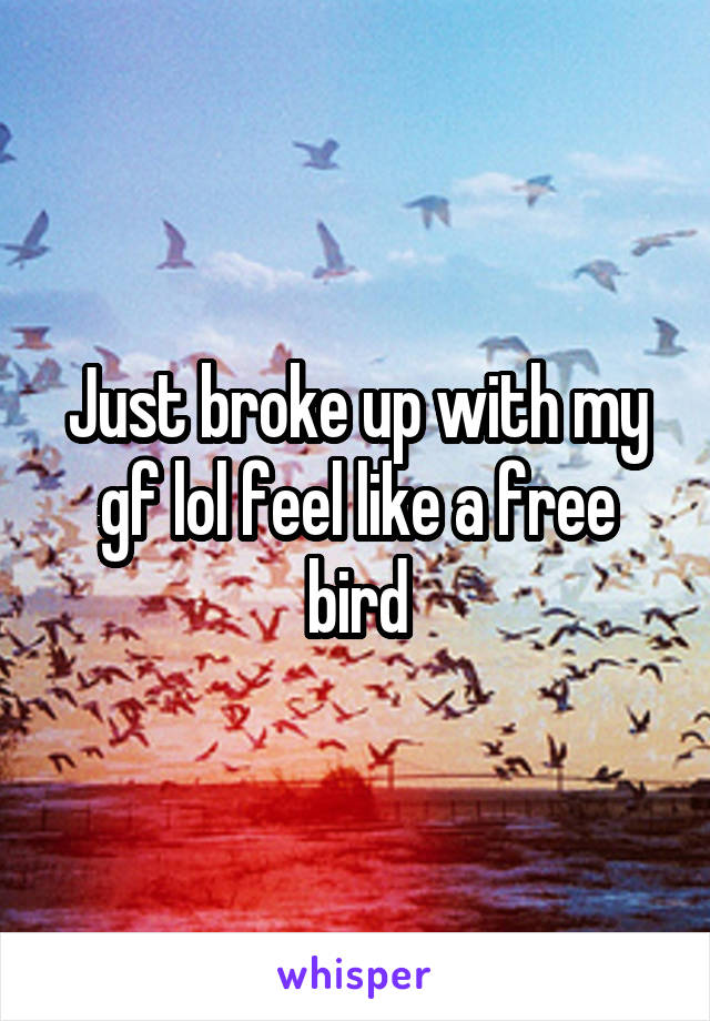 Just broke up with my gf lol feel like a free bird