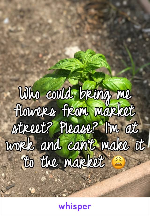Who could bring me flowers from market street? Please? I'm at work and can't make it to the market 😩