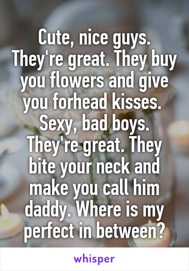 Cute, nice guys. They're great. They buy you flowers and give you forhead kisses.  Sexy, bad boys. They're great. They bite your neck and make you call him daddy. Where is my perfect in between?
