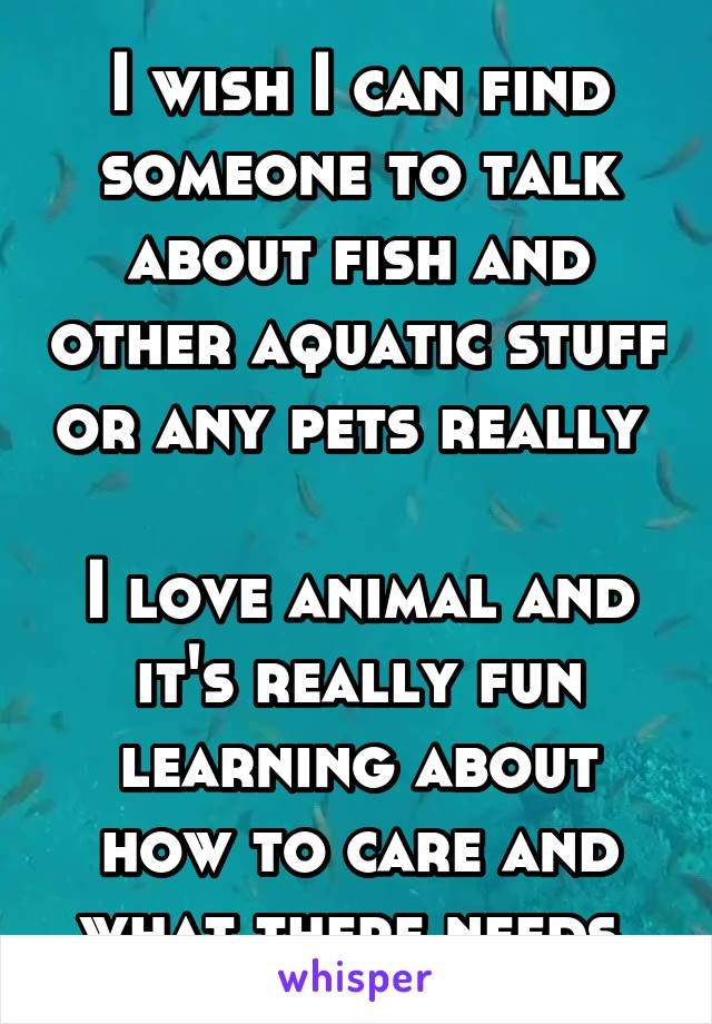 I wish I can find someone to talk about fish and other aquatic stuff or any pets really   I love animal and it's really fun learning about how to care and what there needs