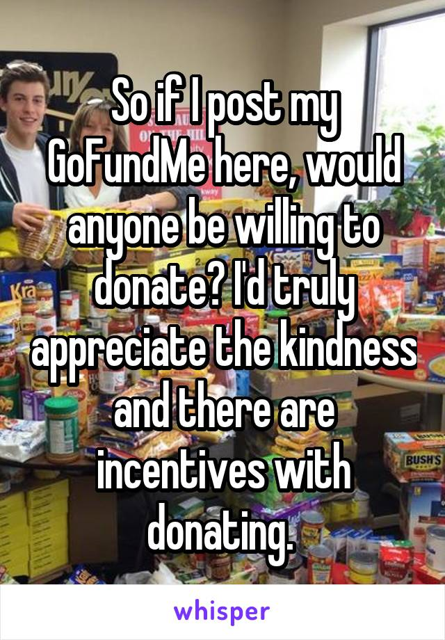 So if I post my GoFundMe here, would anyone be willing to donate? I'd truly appreciate the kindness and there are incentives with donating.