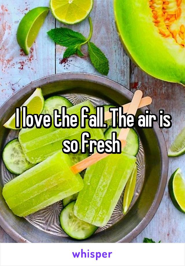 I love the fall. The air is so fresh
