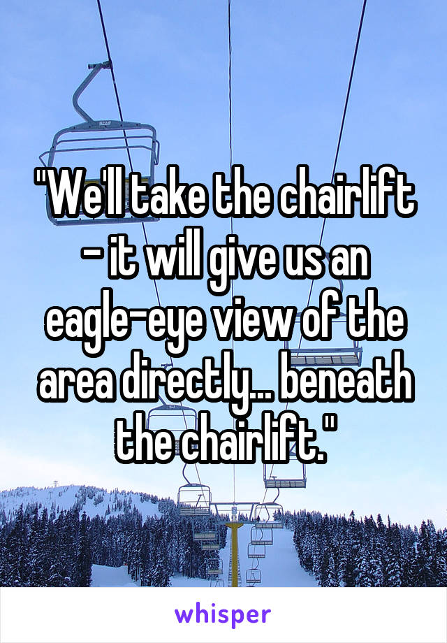 """""""We'll take the chairlift - it will give us an eagle-eye view of the area directly... beneath the chairlift."""""""