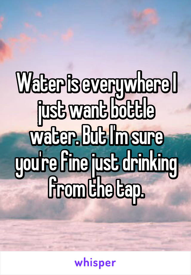 Water is everywhere I just want bottle water. But I'm sure you're fine just drinking from the tap.