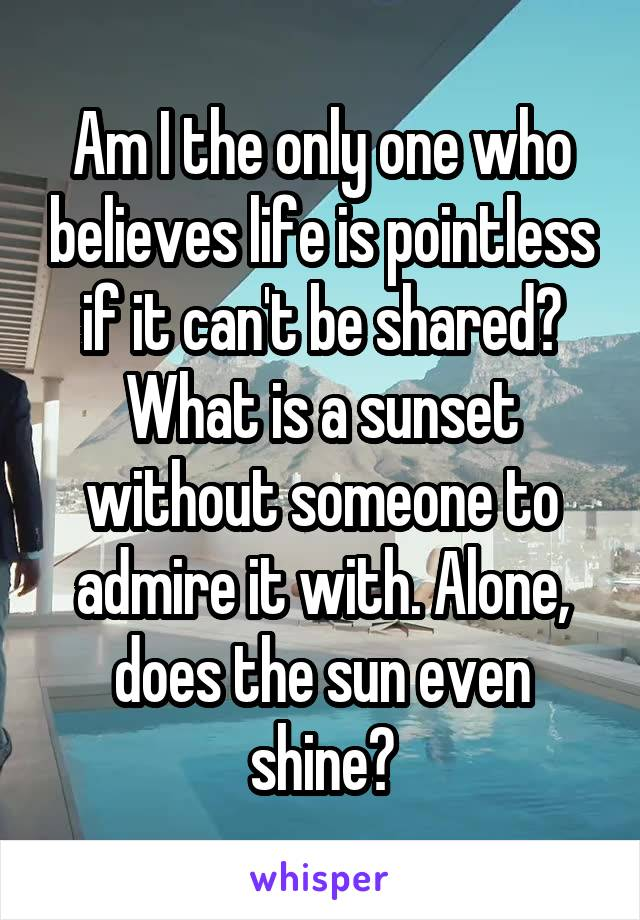 Am I the only one who believes life is pointless if it can't be shared? What is a sunset without someone to admire it with. Alone, does the sun even shine?