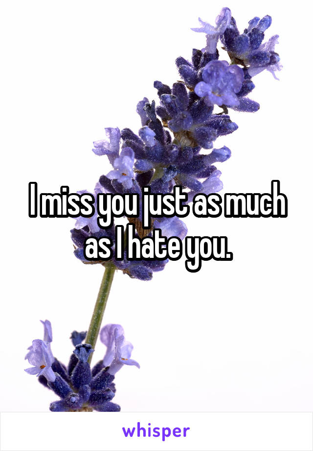 I miss you just as much as I hate you.