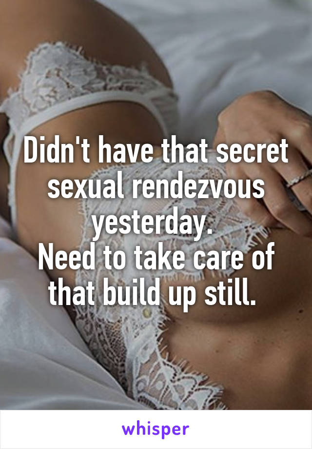 Didn't have that secret sexual rendezvous yesterday.  Need to take care of that build up still.