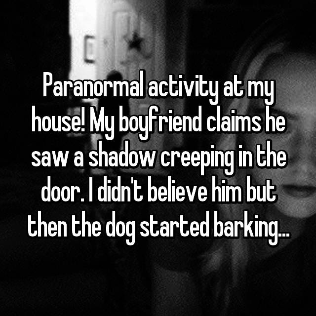 Paranormal activity at my house! My boyfriend claims he saw a shadow creeping in the door. I didn't believe him but then the dog started barking...
