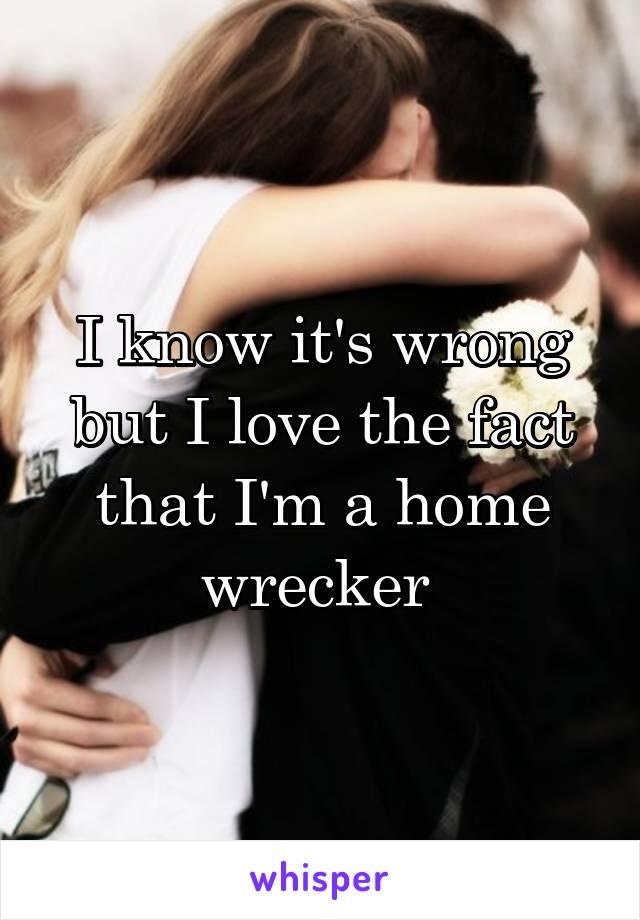 I know it's wrong but I love the fact that I'm a home wrecker