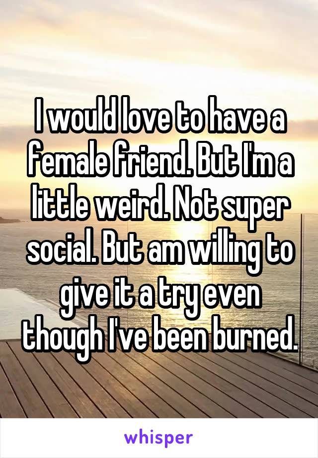 I would love to have a female friend. But I'm a little weird. Not super social. But am willing to give it a try even though I've been burned.