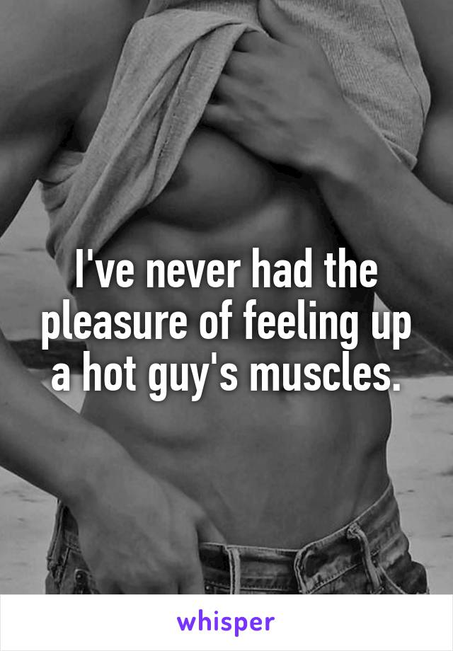 I've never had the pleasure of feeling up a hot guy's muscles.