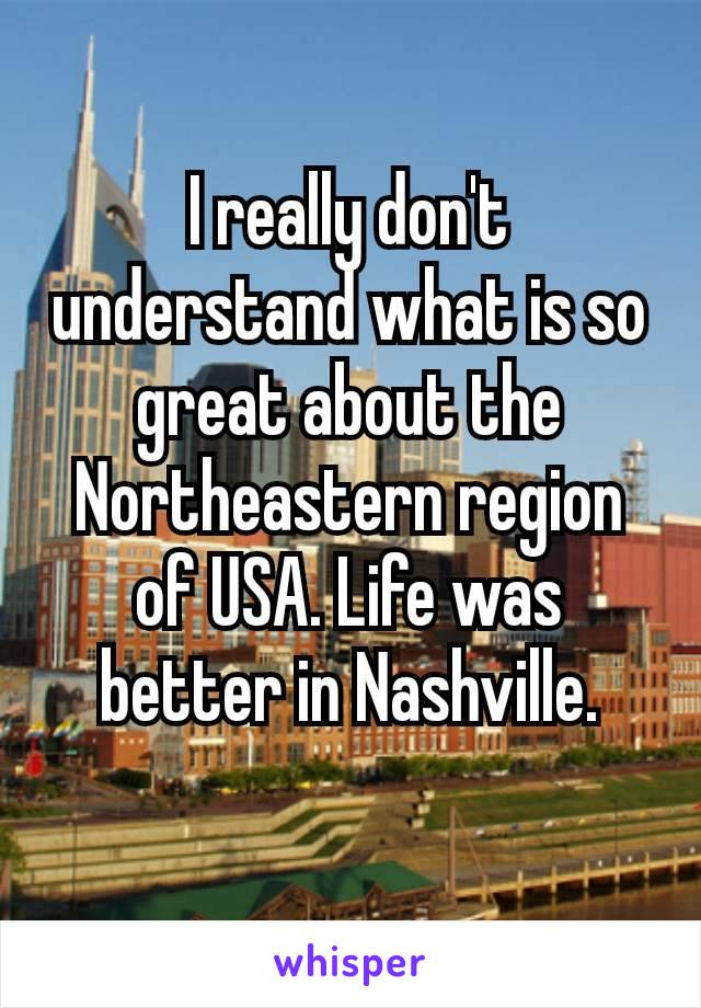 I really don't understand what is so great about the Northeastern region of USA. Life was better in Nashville.