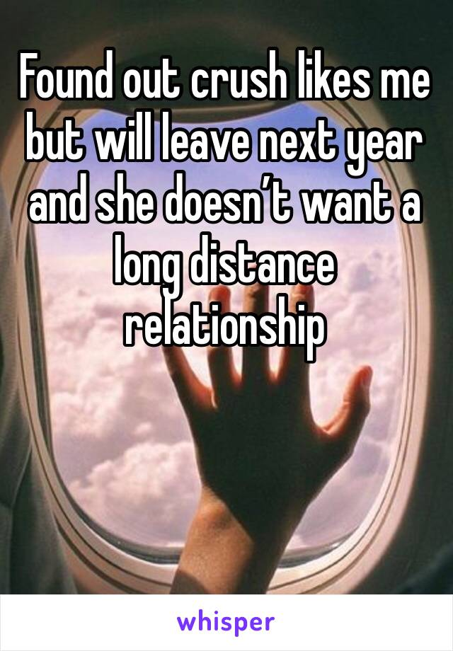 Found out crush likes me but will leave next year and she doesn't want a long distance relationship