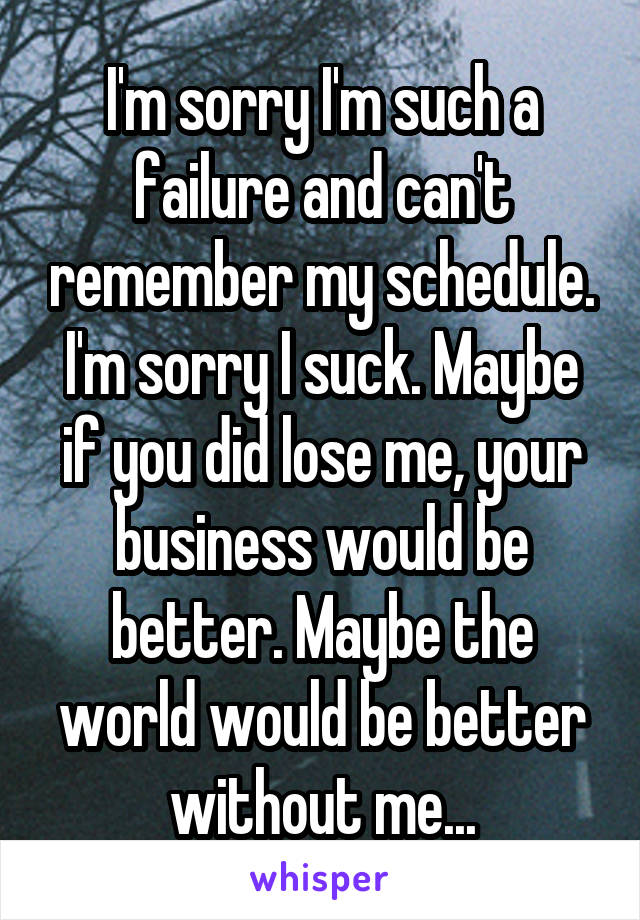 I'm sorry I'm such a failure and can't remember my schedule. I'm sorry I suck. Maybe if you did lose me, your business would be better. Maybe the world would be better without me...