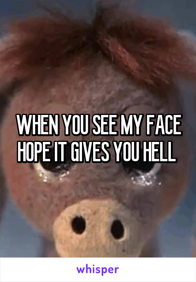 WHEN YOU SEE MY FACE HOPE IT GIVES YOU HELL
