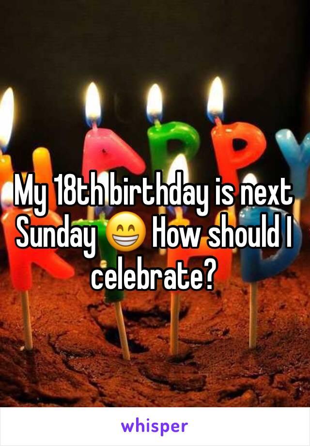 My 18th birthday is next Sunday 😁 How should I celebrate?