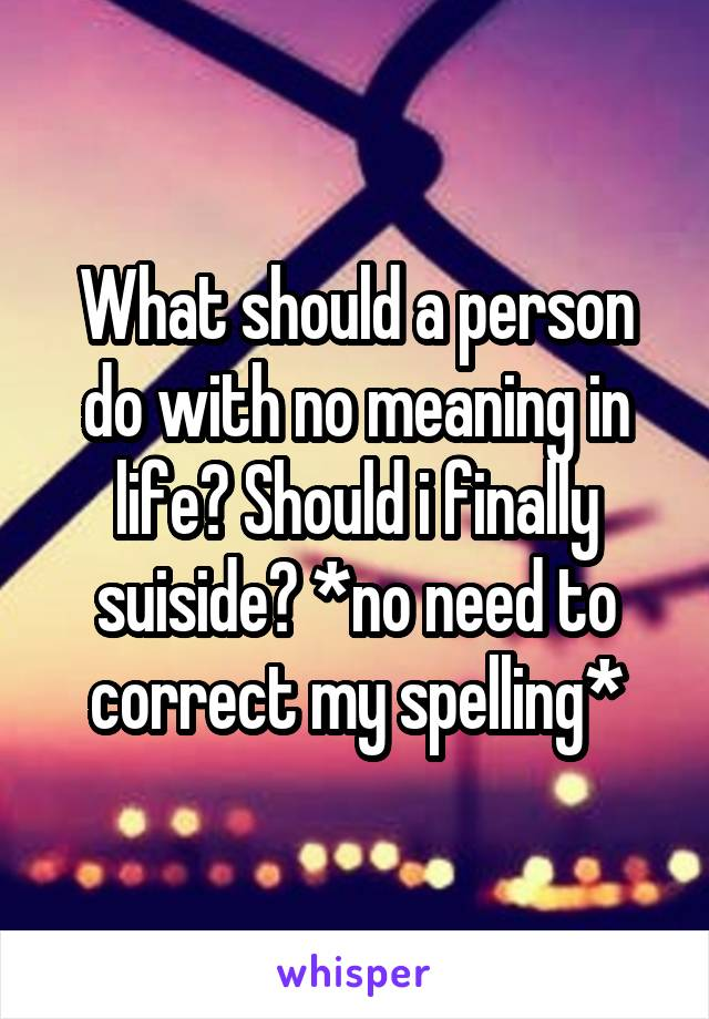 What should a person do with no meaning in life? Should i finally suiside? *no need to correct my spelling*